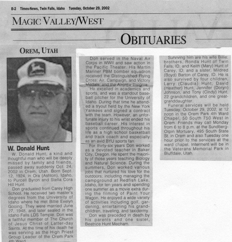 Don Hunt obituary