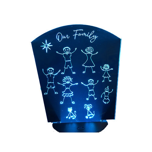 Personalized Stick Family characters on an acrylic LED-lit panel