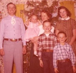 Back: Ronda, Peggy, Betty, Phyllis. Front: John, Bill.