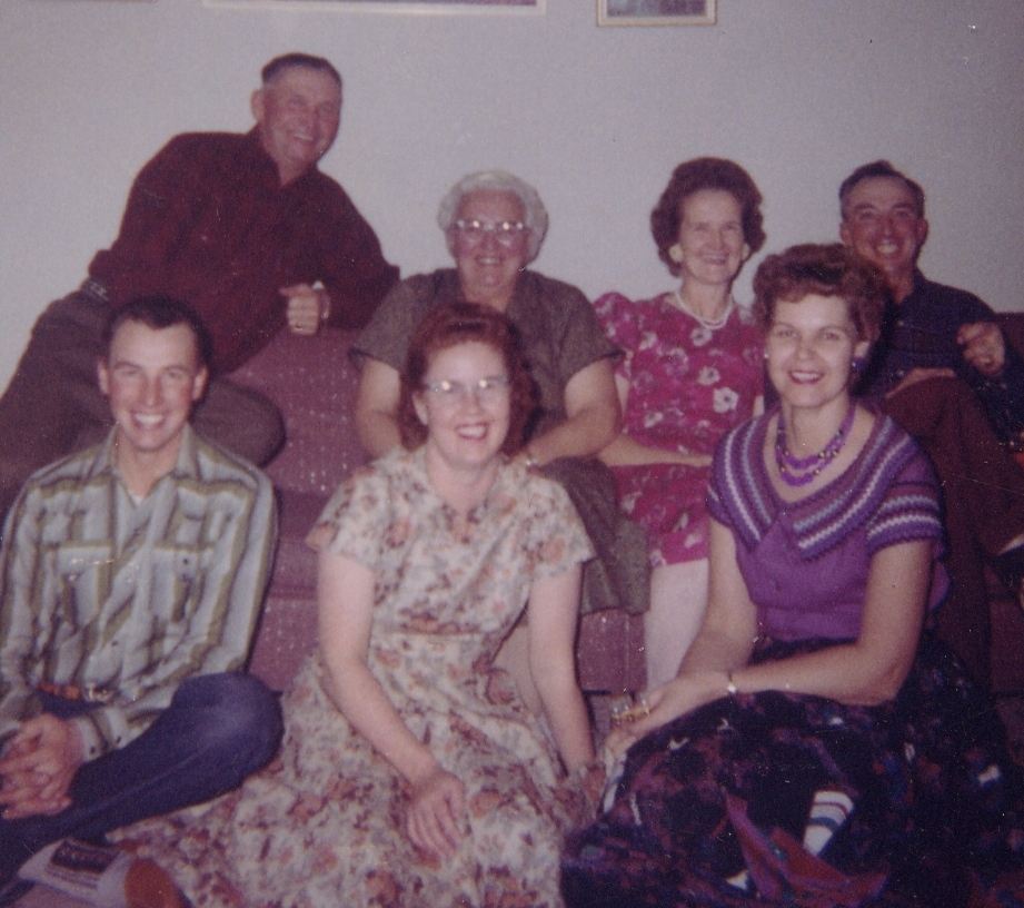 Front: Keith, Mary, Billie (Wife of Donald). Back: Percy, Stella, Betty, Ronda.