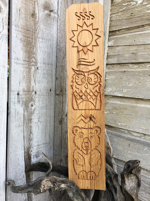 """Wall Totem - """"Earth, Wind, and Fire"""" - 27 inch, planed cedar"""