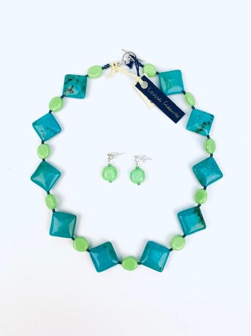 Beautiful Faux & Chalk Turquoise Lorna Grewar Handmade Necklace+ Earrings