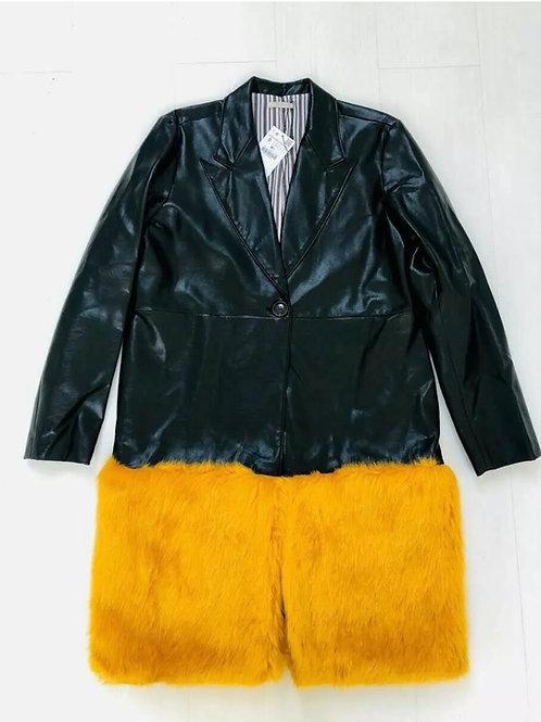 Brand New Zara faux leather jacket with orange faux fur hem (S)