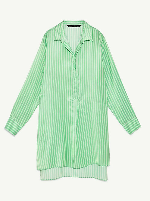 Zara Green Oversized Striped Long Sleeve Shirt M