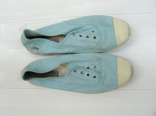 Hampton Canvas Light Blue Slip-On Flat Shoes Size 39C