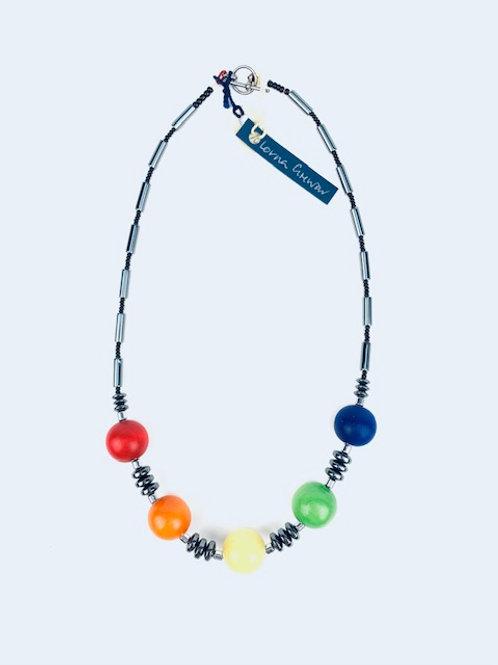 Statement Hematite Multicoloured Bead Lorna Grewar Handmade Necklace