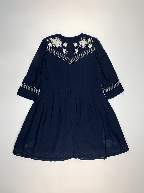 French Connection Navy Blue Embroidered Dress UK 8
