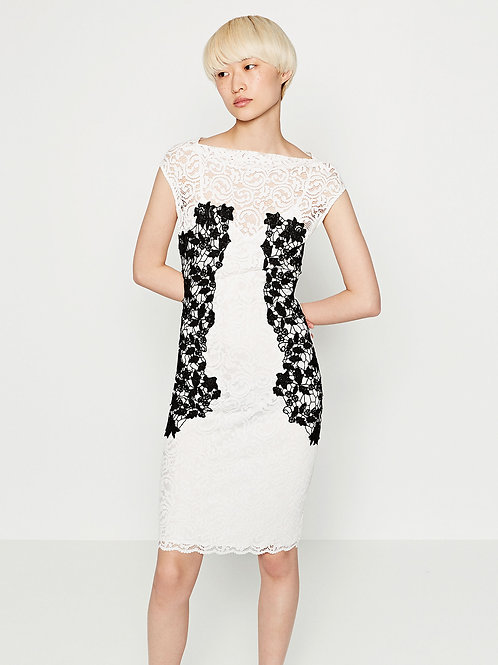 Brand New Zara Black White Combination Lace Midi Dress XS