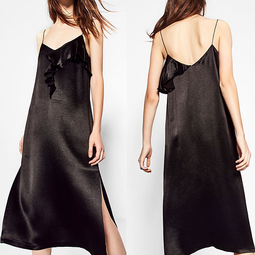 Brand New Zara Black Strappy Midi Dress L