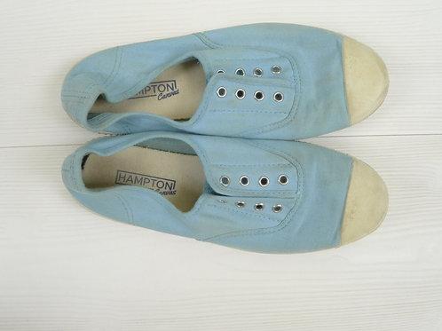 Hampton Canvas Light Blue Slip-On Flat Shoes Size 38C