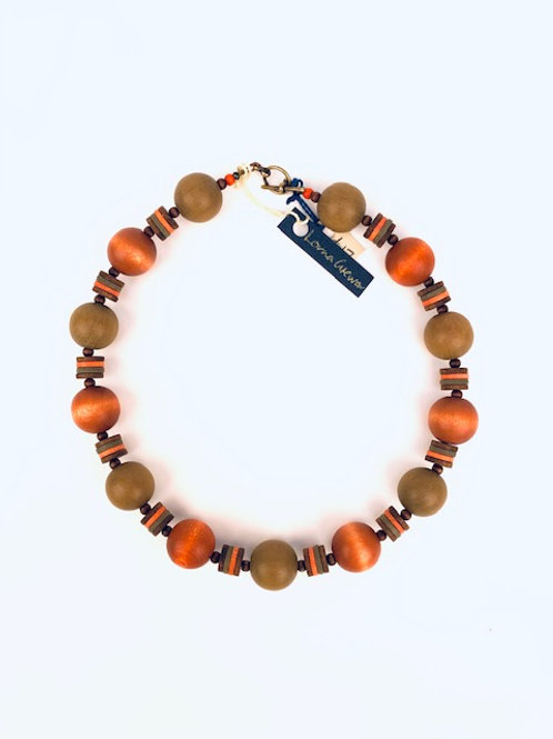 Burnt Orange Beaded Lorna Grewar Handmade Necklace
