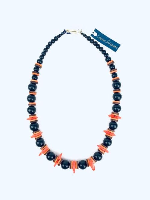 Statement Orange & Black Beaded Lorna Grewar Handmade Necklace