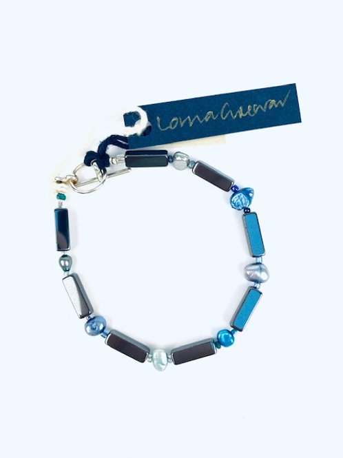 Beautiful Freshwater Pearl + Hematite Lorna Grewar Bracelet