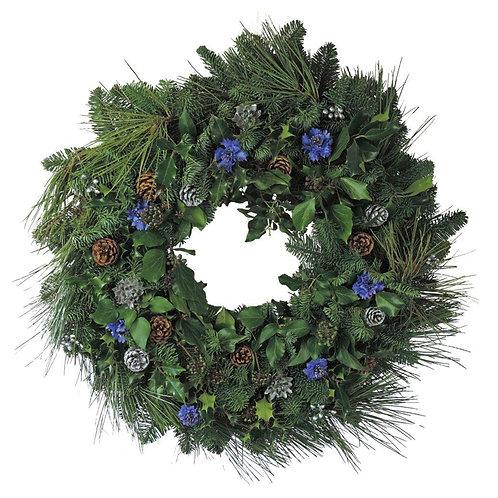 "Cornflowers and Cones Christmas Wreath 14"""