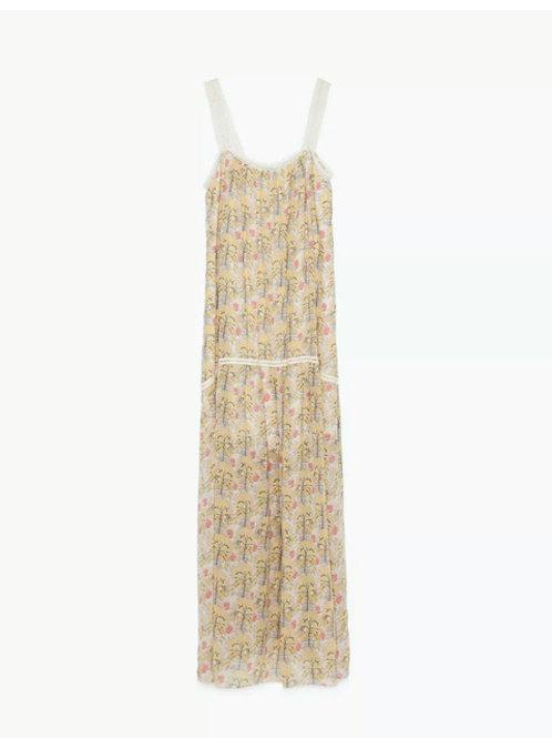 Zara yellow strappy printed long Maxi dress size XS