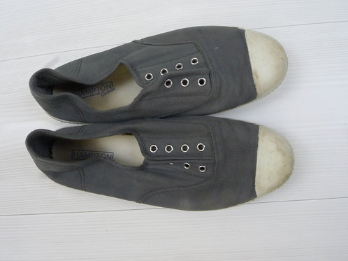 Hampton Canvas Grey Slip-On Flat Shoes Size 40C
