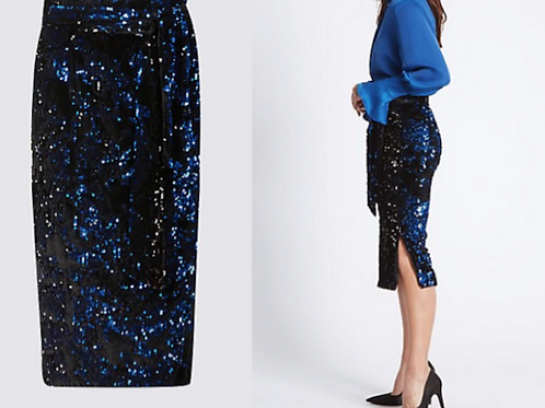 M&S COLLECTION Embellished Sequin Pencil Midi Skirt UK 8