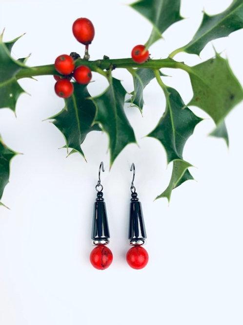 Lorna Grewar Gunmetal Silver & Red Bead Drop Earrings