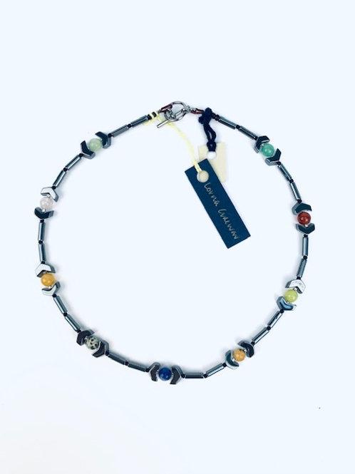 Hematite + Multicoloured Mixed Stone Lorna Grewar Choker Necklace