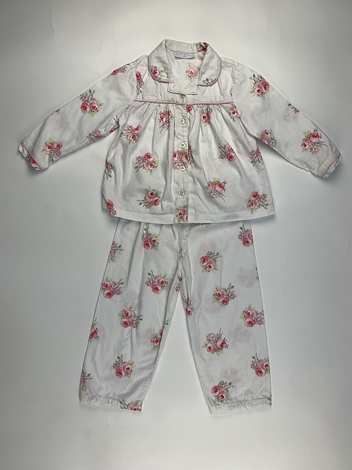 The Little White Company White Floral  Pyjama Size 2-3 Yrs