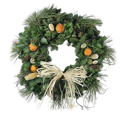 "Citrus Straw Bow Christmas Wreath 14"""