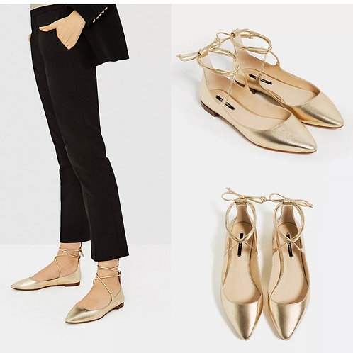 Brand New Zara Gold Lace-up Ballet Flat Shoes UK 2