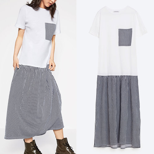 Zara Drop Waist Striped T- Shirt Long Dress S