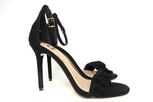 River Island Black Frill High Heel Sandals UK 5/EUR 38