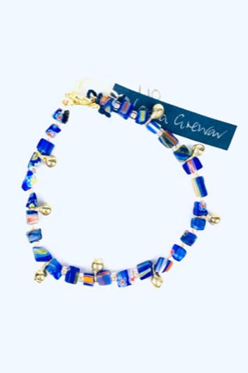 Beautiful Blue, Gold + Multicoloured Bead Lorna Grewar Bracelet