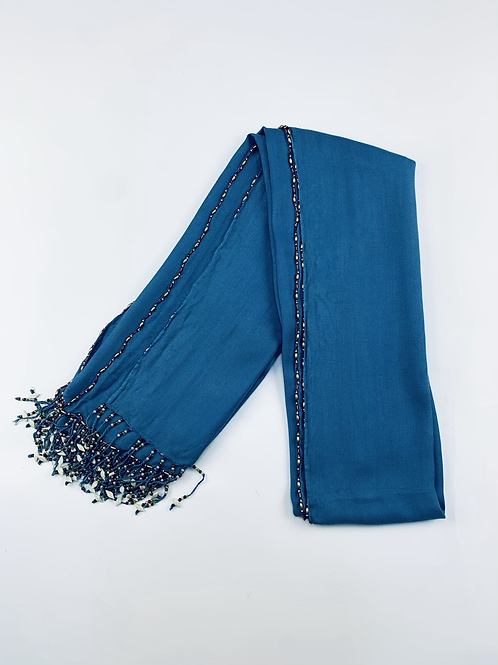 Blue Scarf with Embellished Beads