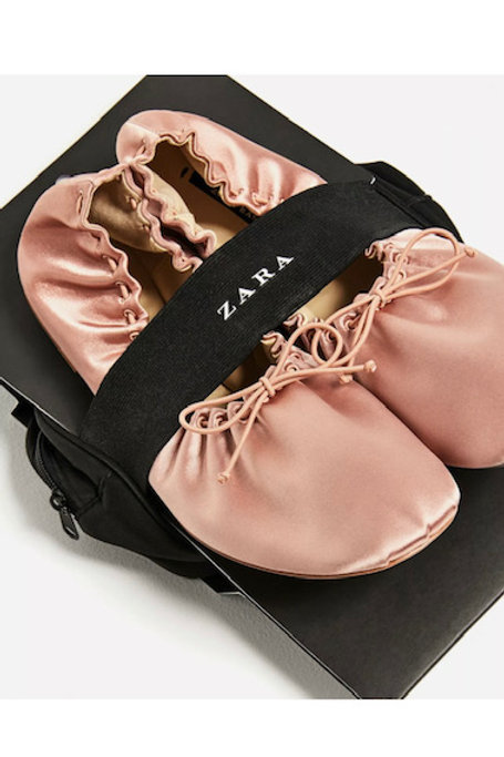 Brand New Zara soft sateen ballerina pumps with bag (UK 4)