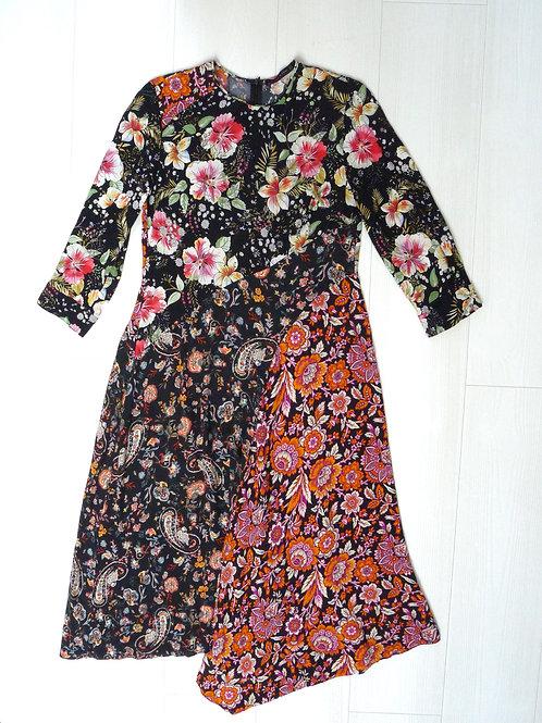 Zara Floral Print Long Maxi Dress Size M
