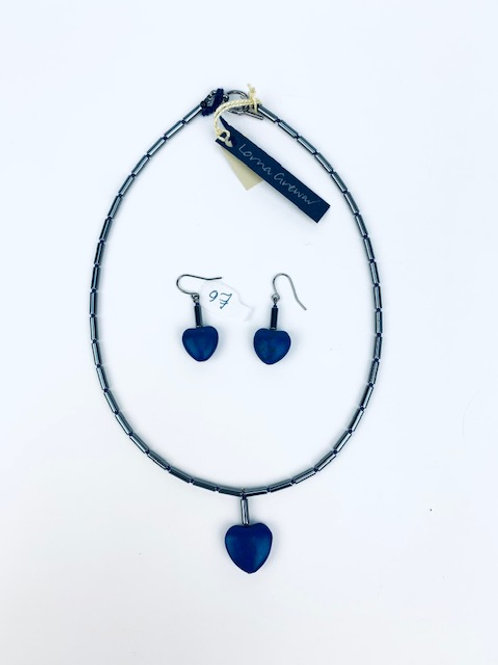 Hematite and Dyed Howlite Lorna Grewar Heart Necklace+ Earring Set