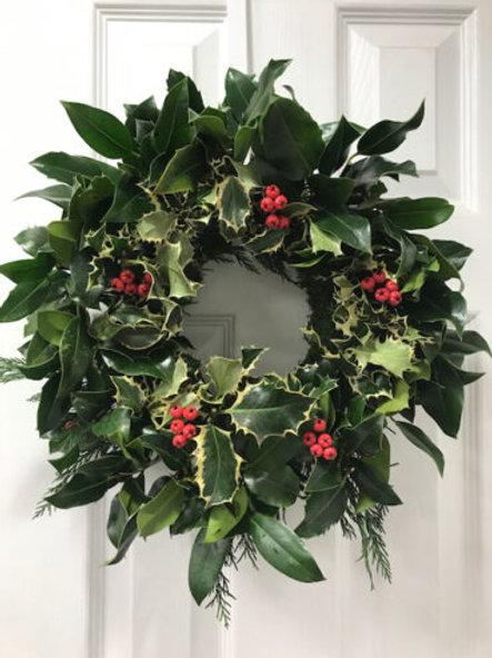 "Classic Holly Wreath 12"""
