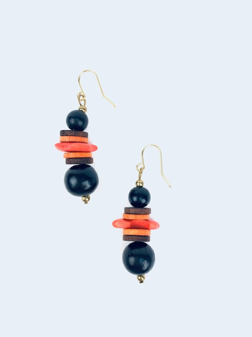 Statement Orange & Black Beaded Lorna Grewar Handmade Earrings