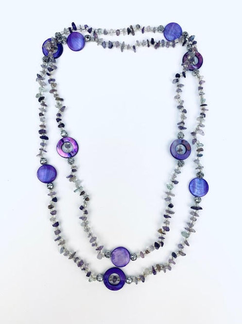 Purple Mother of Pearls and Beads Handmade Long Necklace