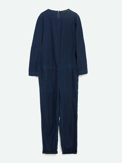 Zara Dark Blue Denim Jumpsuit XS