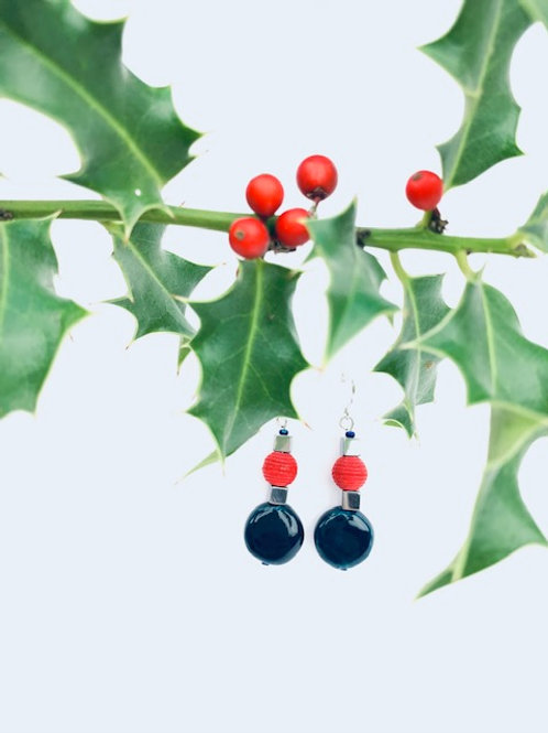 Red, Navy + Silver Lorna Grewar Bead Statement Earrings