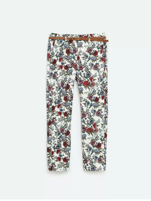 Zara floral printed trousers with belt size 34 (L)