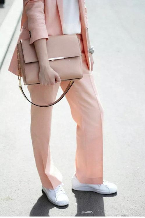 Zara salmon straight cut cropped trousers Size small
