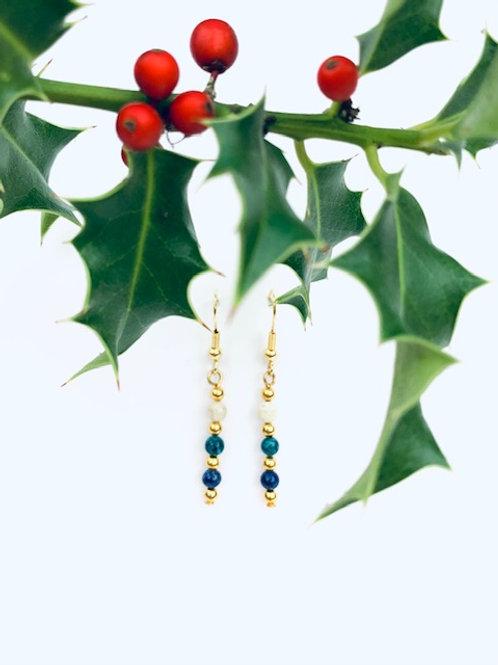 Blue, Green + Cream Lorna Grewar Bead Statement Earrings