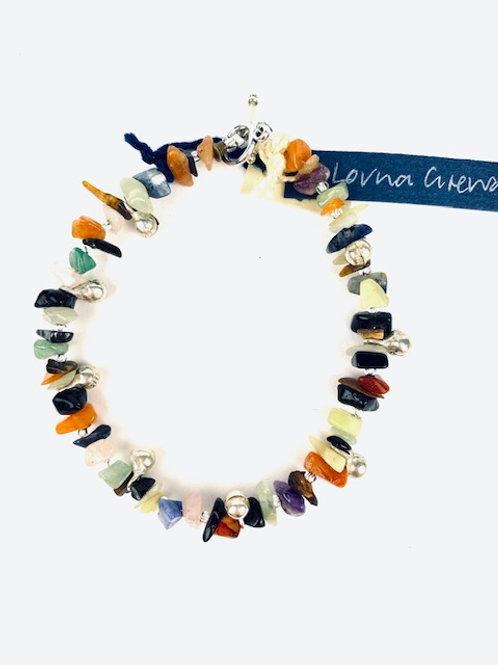 Beautiful Multicoloured Bead + Silver Lorna Grewar Bracelet