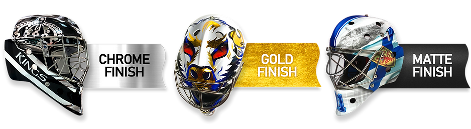 Custom Designed Hockey Goalie Mask Vinyl Wraps Gold, Chrome & Matte Specialty Finishes