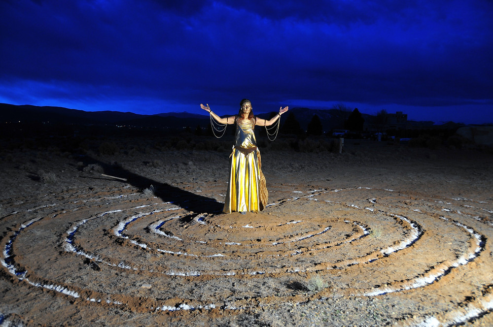 gold labyrinth ordination ceremony photo shoot