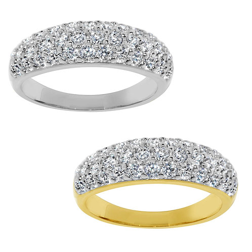14k Yellow or White Gold 7/8ct TGW Round-cut Diamonette Dome Wedding Band