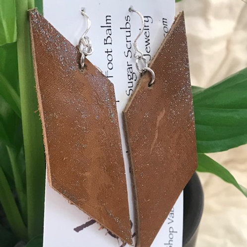 Brown Hand Cut Leather Earrings