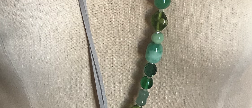 Jade, Glass Beads & White Leather
