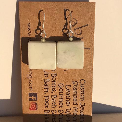 Chalk Jade sterling silver earrings