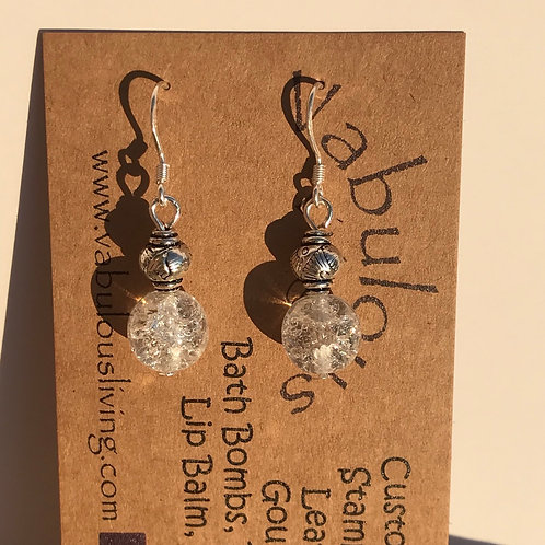 Cracked Czech Crystal sterling silver earrings