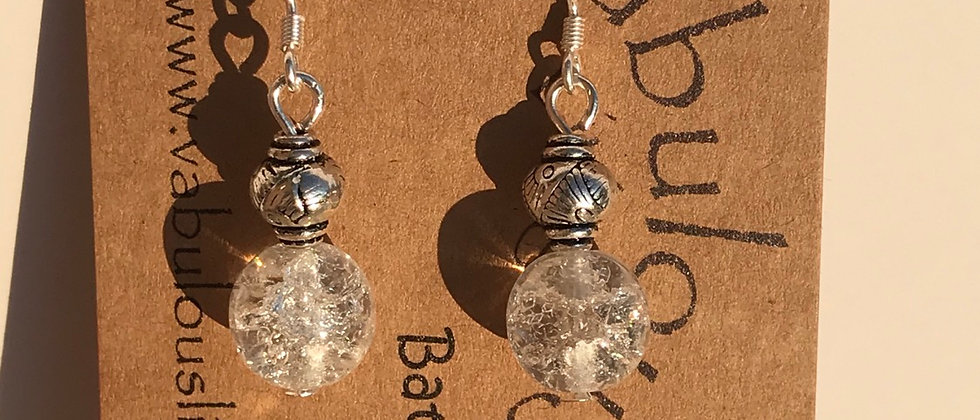 Cracked Czech Crystal sterling silver earrings